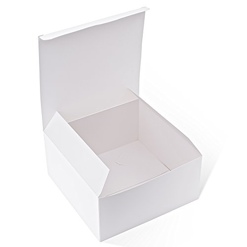 MESHA White Boxes 50 Pack 8x8x4 Inches, White Paper Gift Boxes with Lids for Gifts, Crafting, Cupcake Boxes ()
