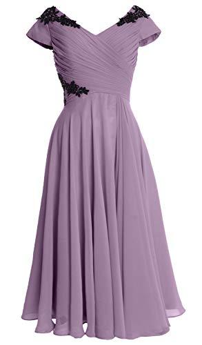 Macloth Bride Gown Of Sleeve Women Midi V Cap Wedding Neck Mother Party Wisteria Dress pSpnrBwq