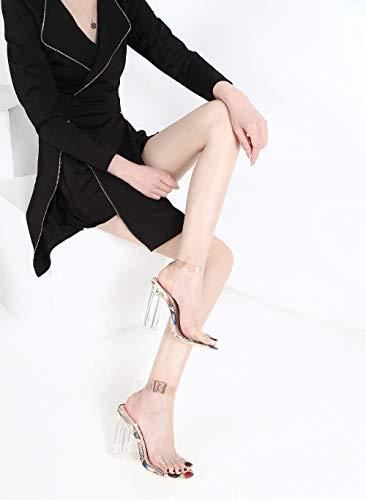 ed17334b28f MACKIN J G349-1 Transparent Open Toe Ankle Strappy Block Chunky Heel ...