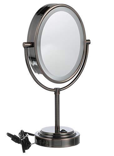 Espejo de maquillaje iluminado de doble cara Conair - Espejo de maquillaje de tocador iluminado; Ampliación 1x /7x; Acabado de bronce engrasado