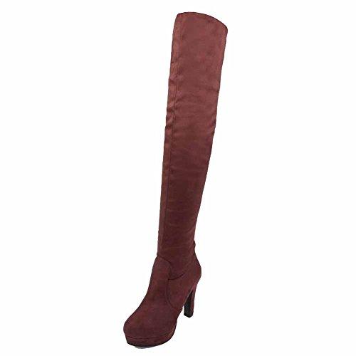 AgooLar Damen Blend-Materialien Rund Zehe Rein Reißverschluss Stiefel, Gelb, 37