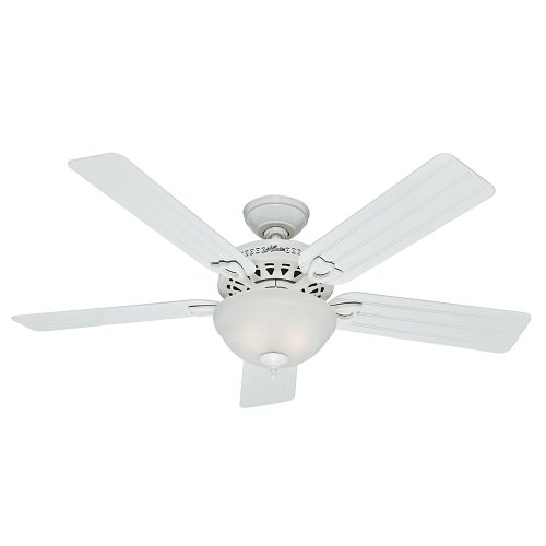 Hunter Indoor Outdoor Ceiling Fan with light and pull chain control – Beachcomber 52 inch, White, 53122