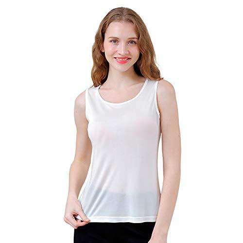 Zylioo Womens 100% Mulberry Silk Camisoles Cap Sleeve Layering Tee Scoop Neckline Comfy Sleeveless Tank Top,White,US M