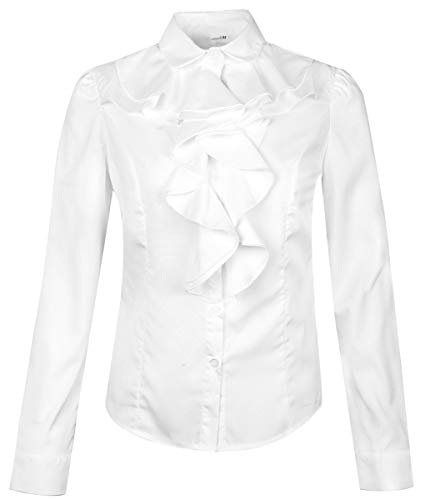 Betusline Women's Elegant Long Sleeve Ruffle Collar OL Tops Blouse T Shirt White