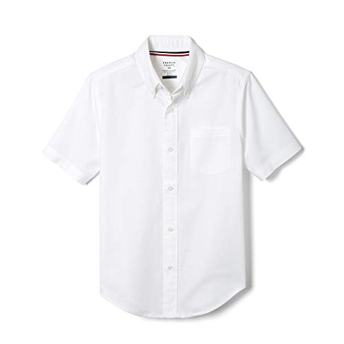 French Toast Boys' Big Short Sleeve Oxford Dress Shirt (Standard & Husky), White Stretch, 14