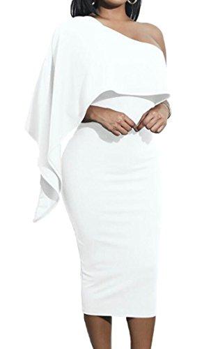 Les Femmes Domple Ruffle Solide Style Une Épaule Cocktail Midi De Blanc Robe Moulante