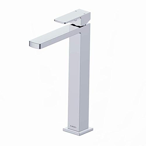 Tall Faucet For Bathroom Sink-KANARY Modern Single Handle One Hole Lead Free Solid Brass Deck Mounted Tall Body Bathroom Sink Faucet, Chrome Finish ()