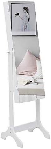 BORNMIO Full Mirror Wooden Floor Standing 4-Layer Shelf With Inner Mirror 2 Drawer Jewelry Storage Adjustable Mirror Cabinet - White
