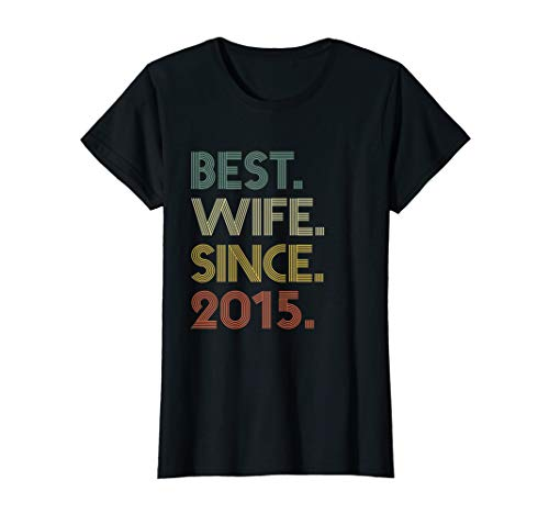 Womens 4th Wedding Anniversary Gift Wife Since 2015 T-Shirt (4th Year Wedding Anniversary Gift Ideas For Her)