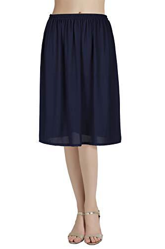 Half Slip Chiffon Underskirt Snip Anti-Static-It Adjustable Waist Navy Blue 16 inch Long Size M ()