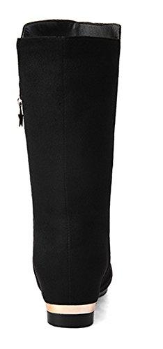 Bottes Noir Femme Compensé Mode Talon Etoile Aisun Mollet Sqx8ZHwSY
