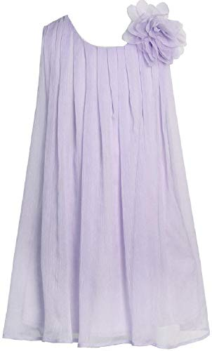 Big Girls' Adorable Sleeveless Chiffon Easter Party Birthday Flower Girl Dress Lilac 8 (C10A4)