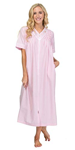 Miss Elaine Women's Short Sleeve Long Front-Zip Gingham Robe (Medium, Peach/White Check)
