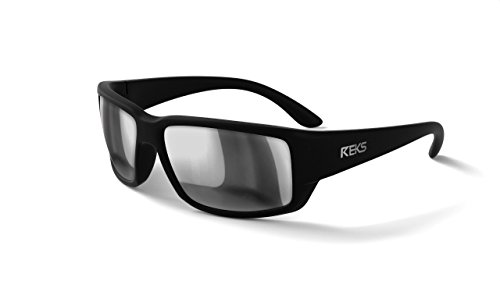 REKS Unbreakable WRAP AROUND Sunglasses (Satin Touch Black, Silver Mirror)
