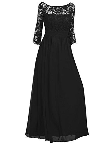 GlorySunshine Women's Scoop neck Lace Stiching 3/4 Sleeve Waist Evening Dress Black 2XL
