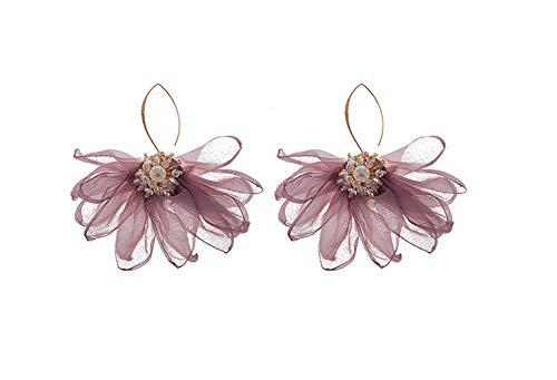 Fabric Petal Drop Earrings - Flowers Dangle Earrings with Chiffon Floral Tassel for Vacation, Wedding, Daily wearing, Women's Gift (Lotus flower earring - Floral Earrings Wedding