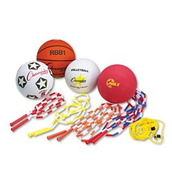 Champion Sports UPGSET2 Physical Education Kit w/Seven Balls, 14 Jump Ropes, Assorted Colors by Champion Sports