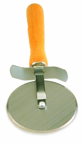 Wood Handle Pizza Cutter - Crestware WHPC4 4-Inch Pizza Cutter with Wood Handle, 1, Silver