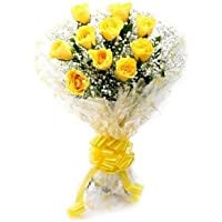 Floralbay Yellow Roses Bouquet Fresh Flowers in Cellophane Wrapping (Bunch of 8)