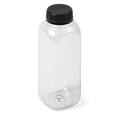 (200) Clear Square IPEC PET Bottle - 12 fl oz - Black IPEC Cap - Case of 200 - Clear Square Bottle