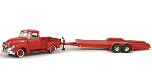 "1950 Chevrolet Pickup Truck Gloss Red with Open Car Trailer Ltd Ed to 6,016 pieces""Truck and Trailer"" Series 2""Chevrolet Trucks 100th Anniversary"" 1/64 Diecast Model Car by Johnny Lightning JLSP018"