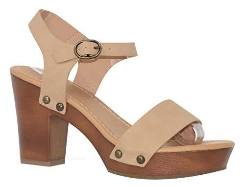 MVE Shoes Women's Ankle Strap Faux Wood Platform Chunky Heel Sandal, Chivas NAT NBPU 8