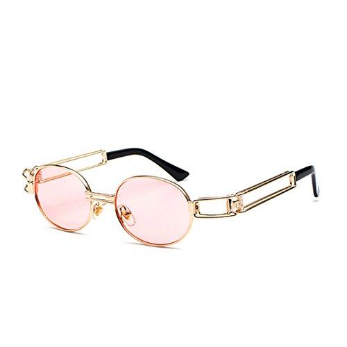 sol de Rosado transparente de señoras de Lentes de Huicai marco ovales de lente Gafas redondas los gafas hombres Gafas de metal SnAE1CRW
