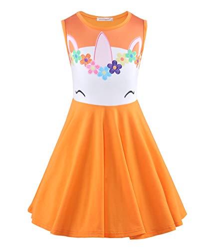 JerrisApparel Girls Unicorn Dress Cotton Sleeveless Dress Summer Party Dress (5, Orange) -