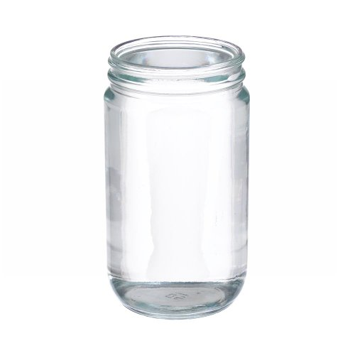 Wheaton W216923 Clear Glass 32oz Straight Sided Jar, without 89-400 White Polypropylene Poly-Vinyl Lined Screw Cap (Case of 12) (Polypropylene Jars)