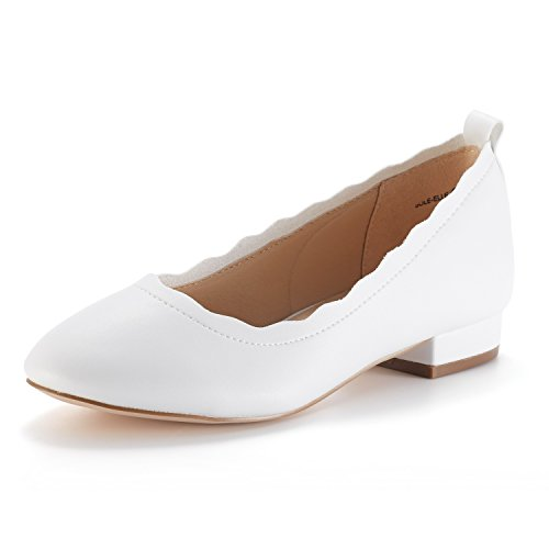 DREAM PAIRS Women's Sole_Elle White/PU Fashion Low Stacked Slip On Flats Shoes Size 5.5 M US