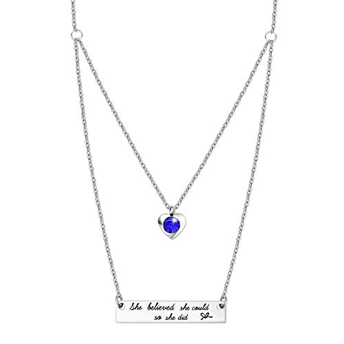 - ivyAnan Jewellery She Believe She Could So She DId Inspirational September Sapphire Birthstone Bar Necklace Pendent Jewelry Gift for Women Girls (9-September - Sapphire)