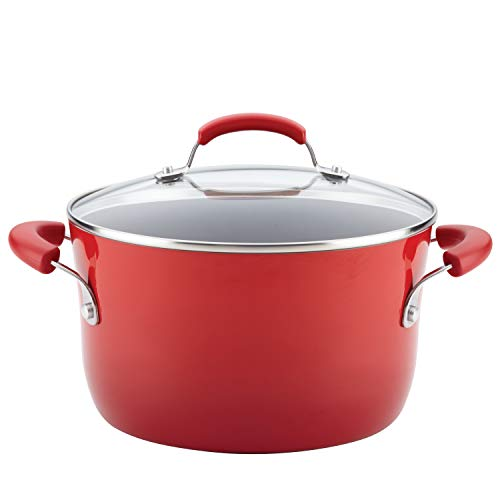 Rachael Ray Classic Brights Hard Enamel Nonstick Covered Stockpot, 6-Quart, Red Gradient (Aluminum Pot Covered)