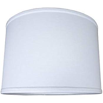 14x14x10 Drum Lampshade Premium White Linen With Brass