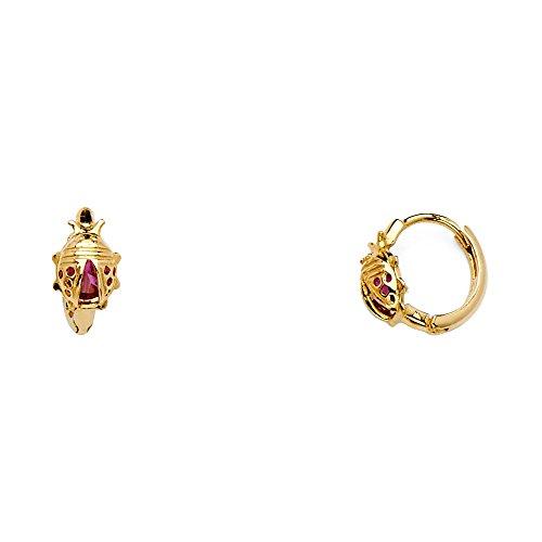 14k Yellow Gold Ladybug Huggie Hoop -