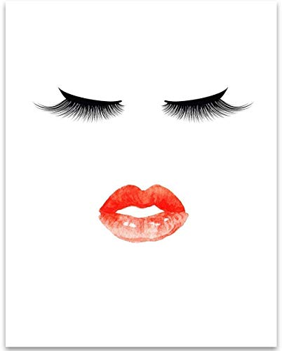 - The Look - Eyelashes and Lips Illustration - 11x14 Unframed Art Print - Great Bathroom Decor Under $15
