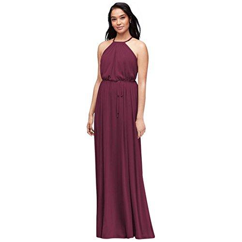 Mesh Halter Gown - Soft Mesh Halter Bridesmaid Dress with Slim Sash Style F19533, Wine, 0