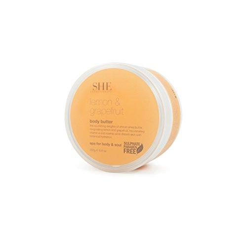 OM SHE Aromatherapy Moisturizing Body Butter, Lemon & Grapefruit 250g Vegan Friendly - Cruelty Free - No Harsh Chemicals