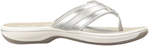 Clarks Women\'s Breeze Sea Flip Flop, New Silver Synthetic, 8 B(M) US