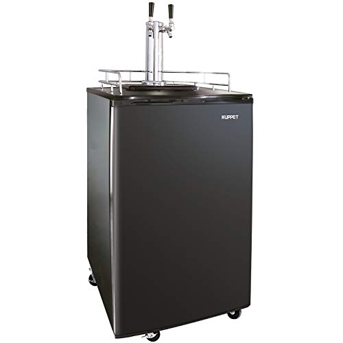 KUPPET Full Size Kegerator& Draft Beer Dispenser, Beer Kegerator, Keg Beer Cooler for Party, Compressor Cooling CO2 Regulator Casters, Dual Tap, Black, 6.0 Cu.ft. by KUPPET (Image #8)