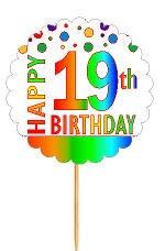 CakeSupplyShop Item#RP-019 Happy 19th Birthday Rainbow Novelty Cupcake Decoration Topper Picks -12ct