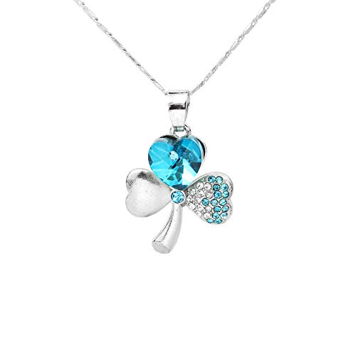 Rosmall Lucky Four-leaf Clover Crystal Rhhinestone Blue Gem Pendent Chic Chain Necklace For Teen Girls Ladies Women