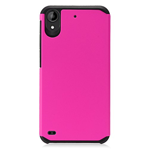 EagleCell - For HTC Desire 530, Desire 555, Desire 550 (2017), Desire 650 - Hybrid Dual Layer Rubberized Protective Hard Case - Black/Hot Pink