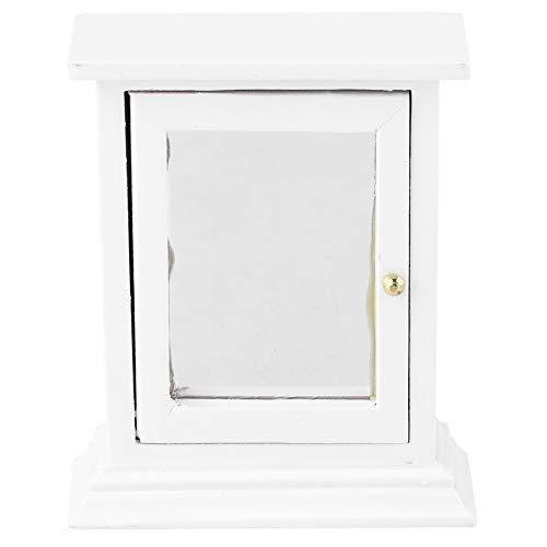 Mootea Dollhouse Bathroom Cabinet, Miniature Furniture Model Wooden Mirror Storage Cabinet for -