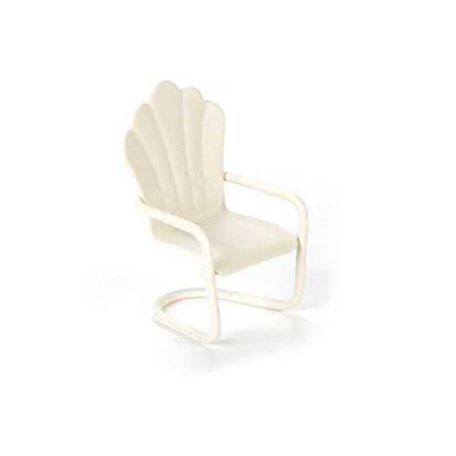 Dollhouse Miniature 1:24 Scale White Metal Chair in Ivory by Darice