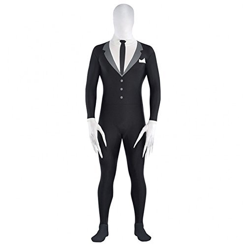 XL up to 6' 3 Tall - Adult Slenderman Costume Halloween Spandex Body Suit Tux Teen Men Scary Slender man Fancy Dress Outfit Jumpsuit by Fancy Dress VIP