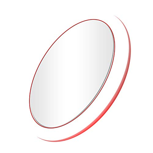 Mirrex Portable Lighted Makeup Mirror with Wireless Charger for IOS and Android Phone, Vanity Mirrors with LED Lights, Professional Cosmetic Mirror for Travel, Skin Care Prefect for Women Red