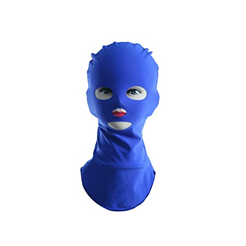 good01Stretch Facekini Pool Mask Head Sunblock UV Sun Schutz Face Swim Cap saphirblau