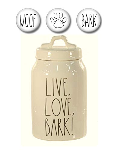 - Rae Dunn LIVE LOVE BARK Dog Treats Canister with Set of 3 Woof, Bark and Paw Print Fridge Magnets Gift Set Large Letter LL Pottery