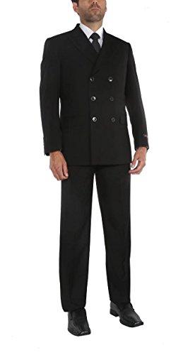 P&L Men's Two-Piece Classic Fit Office 6 Button Suit Jacket & Pleated Pants Set