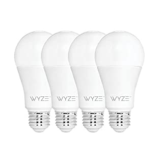 Wyze Bulb 800 Lumen A19 LED Smart Home Light Bulb, Adjustable white temperature and brightness, works with Alexa and the Google Assistant, No Hub Required, 4-Pack (B07RF9NCDP)   Amazon price tracker / tracking, Amazon price history charts, Amazon price watches, Amazon price drop alerts